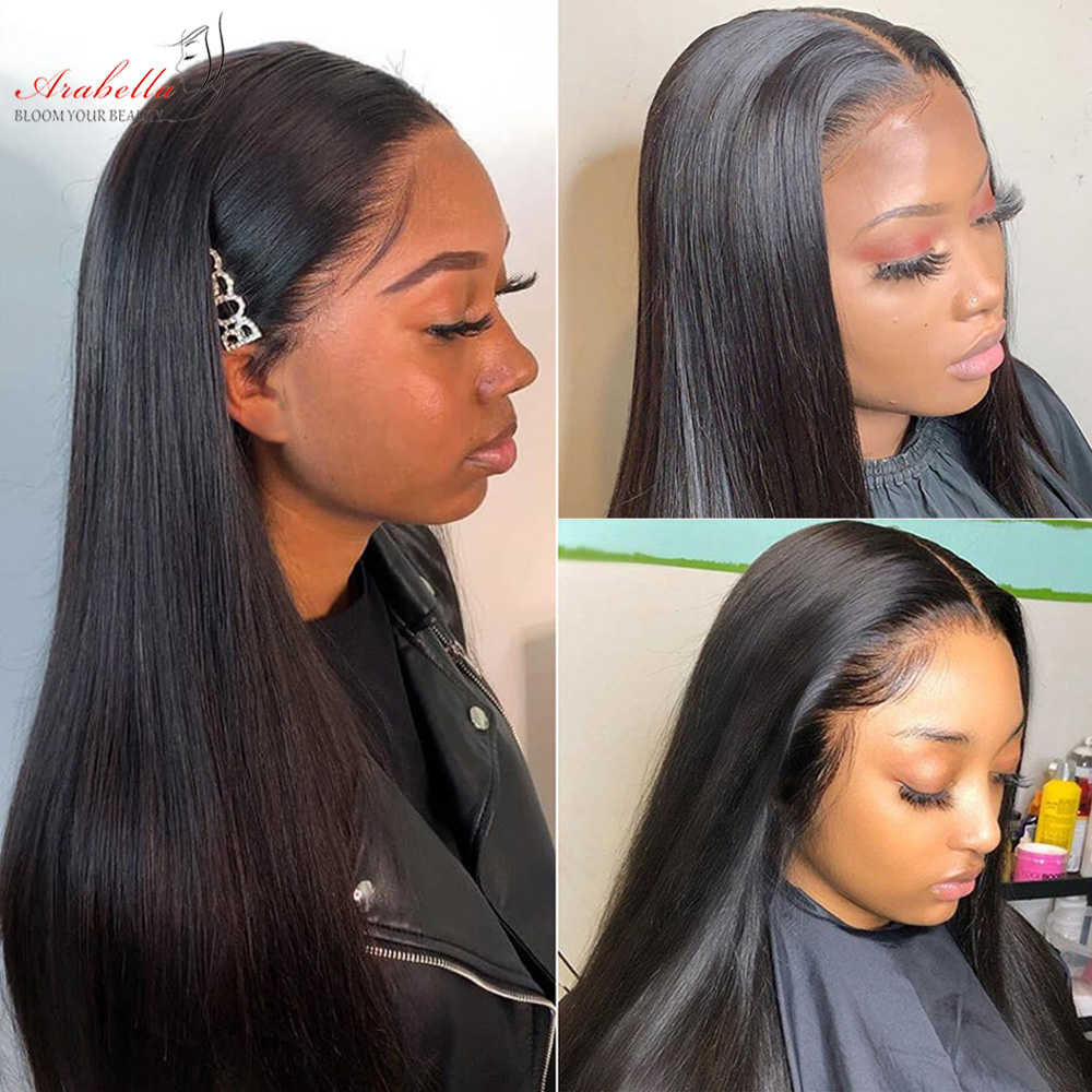Straight Hair 360 Lace Frontal Wig 100%  Wigs PrePlucked Bleached Knots 180% Density Arabella  Hair Lace Front Wig 5