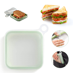 Keuken, Eetkamer Bar Servies Draagbare Siliconen Sandwich Case Soft Herbruikbare Lunchbox Toast Doos