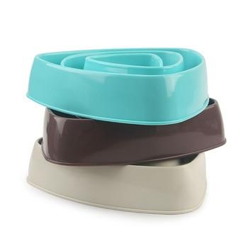 Triangular dog slow eating training bowl puppy kitten plastic food feeding bowl pet avoid choke feeder pet dog bowls