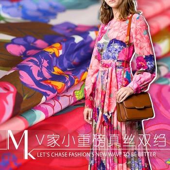 135cm width printed stretch silk fabric 18mm silk double crepe fabric dress women's clothing fabric wholesale silk cloth