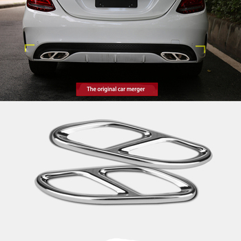 2pcs car accessories exhaust pipe tail cover trim for mercedes benz a b c e class w205 coupe w213 w176 w246 glc c 2016 2017 amg 2 pcs Car Exhaust Pipe Tail Cover Trim protection cap For Mercedes Benz AMG GLC GLE E CLA GLA W205 W211 W213 Car Accessories