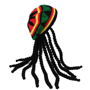 Hip Hop Cap Knitted Wig Braid Hat Male Jamaican Bob Marley Rasta Beanie Winter Gorra Hombre Dreadlocks Reggae Czapka Zimowa(China)