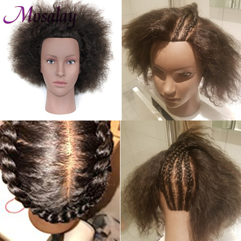 Afro Mannequin Head With 100% Human Hair Doll Head For Braided Styling Head Dyeing Cosmetology Manikin Hairdressing Salon 100% real hair mannequin head professional manikin head with human hair hairdressing mannequins hair styling head