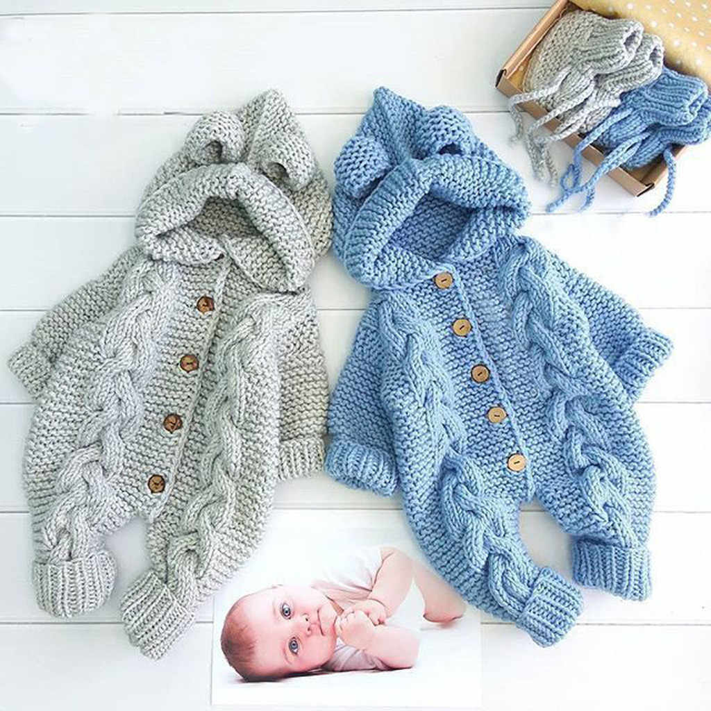 Newborn Baby Girl Boy Winter Warm Coat Knitted Outwear Hooded Jumpsuit Outfits