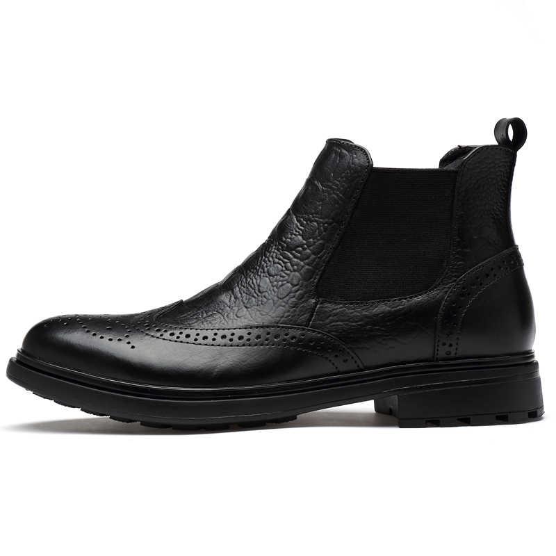 CLAXNEO homme hiver Chelsea bottes fourrure chaud mâle en cuir chaussures Design alligator clax hommes robe botte en cuir véritable à la main