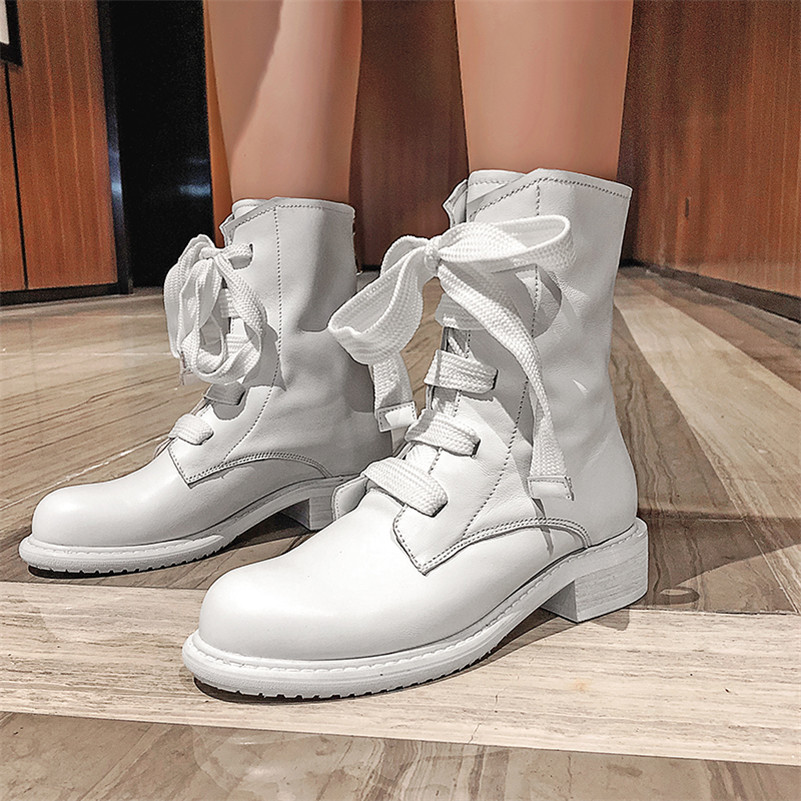 Image 4 - FEDONAS New Warm Comfortable SheepSkin Women Ankle Boots Cross Tied Zipper Platform Short Boots Winter Casual Party Shoes Woman-in Ankle Boots from Shoes