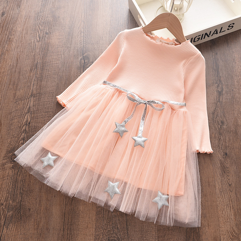 Платье принцессы с пятиконечными звездами, осенне-весеннее вязаное Сетчатое платье для маленьких девочек, одежда для дня рождения с длинны...