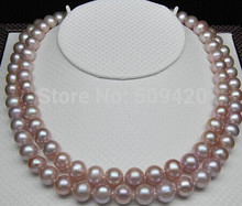 free shipping >>>>Genuine Cultured natural 8-9mm AA+ purple pearl necklace (17inch 18 inch)(China)