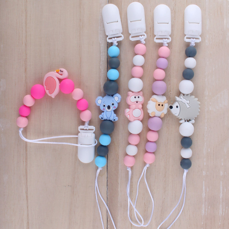 Baby Pacifier Chain Teether Bracelet Food Grade Silicone Chew Pacifier Rope Teething Necklace Pacifier Clip Accesories