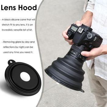 Camera Lens Hood Reflection-free Collapsible Silicone Lens Cover Anti-glass Lens Hood for Camera Mobile Phone Images Videos