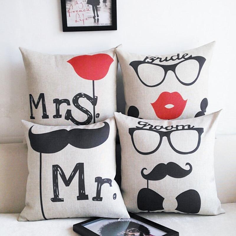 MR MRS dekorsofa polštář v obývacím pokoji povlečení na polštáře vousy rty potištěné pár dárkových potahů