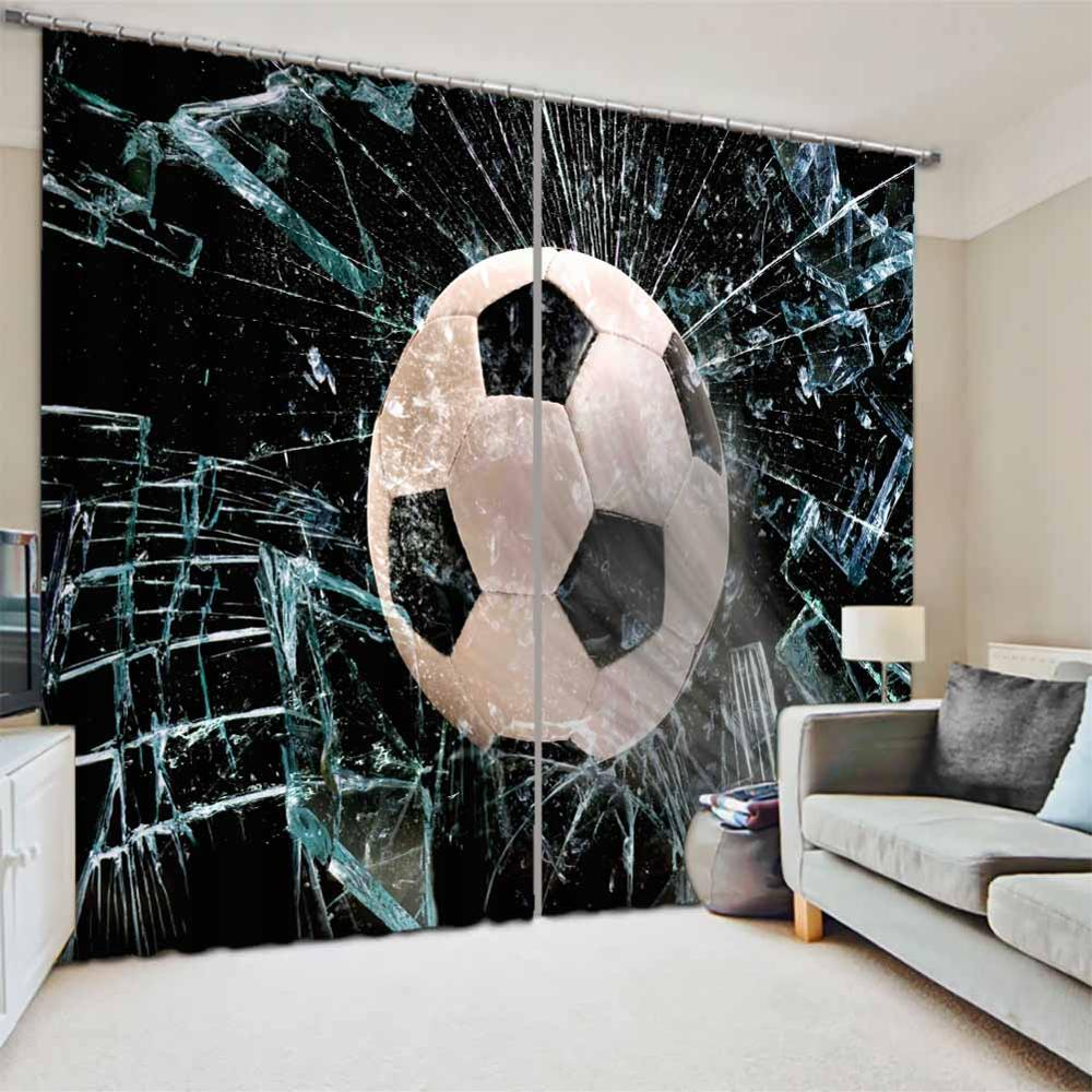Custom football Blackout Curtains For Bedroom Window Curtains Living room Kitchen Curtains European Decoration