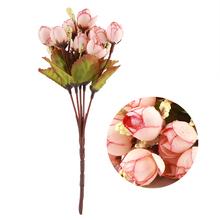 15 głów sztuczne sztuczne kwiaty bukiet na wesele sztuczne kwiaty akcesoria do dekoracji domu bez butelki tanie tanio MU1325568 Daisy Kwiat Głowy Ślub Włókniny tkaniny 100 Brand New Silk cloth + eco-friendly plastic Purple Edge Pink (optional)