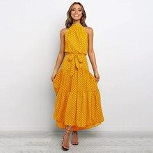 Spring Summer Women Dress 2020 Floral Print Halter Sleeveles