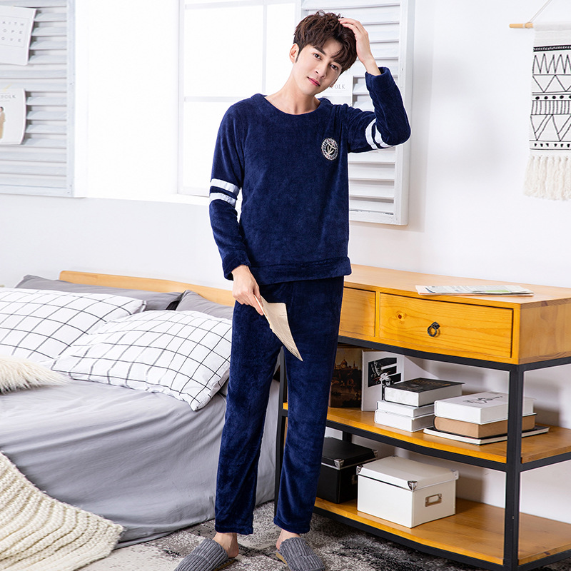 Men Navy Blue Flannel Sleepwear Night   Set     Pajamas     Set   Long Sleeve Winter Warm Suit Home Clothing Kimono Bathrobe Gown Negligee