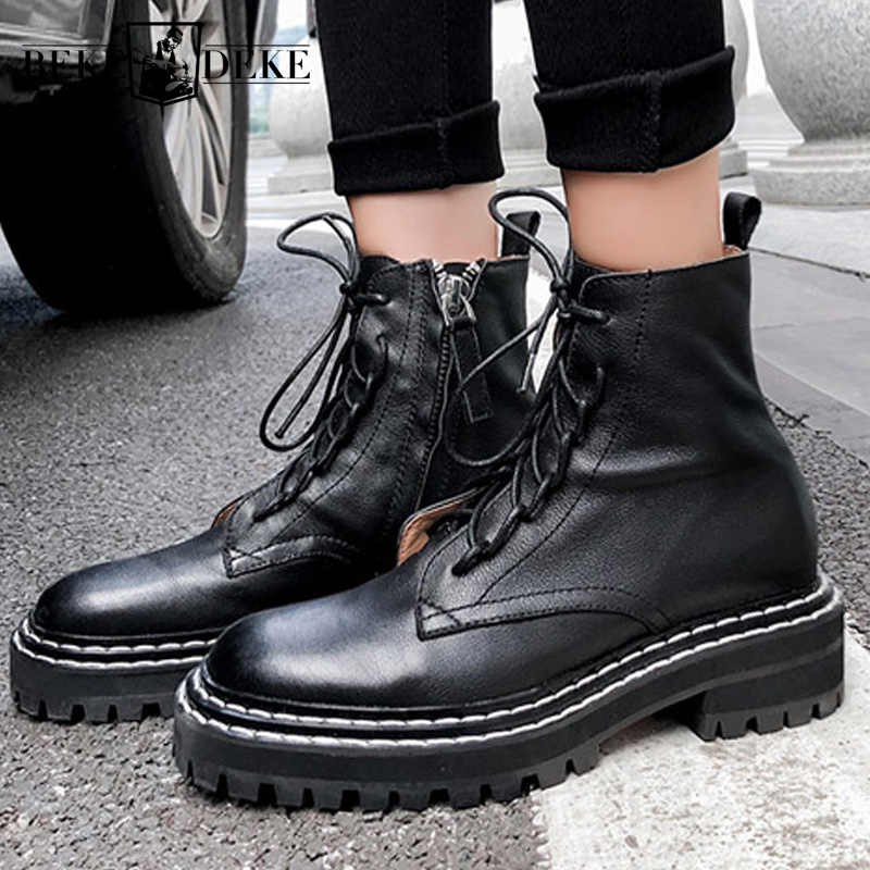 Street Style Lace Up Thick Heel Platform Boots Women Genuine Leather Luxury Shoes Winter Black Zipper Motorcycle Ankle Boots