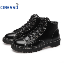 CINESSD Size 35-44 High Quality British Women Ankle Martin Boots Spring Autumn Shoes Men Fashion Lace-up Leather Male Botas Vintage Unisex