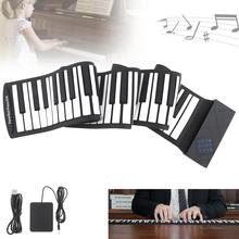 цена на 88 Keys USB MIDI Roll Up Piano Electronic Portable Silicone Flexible Keyboard Organ with Sustain Pedal  Electronic Organ