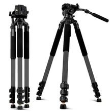 פחמן סיבי וידאו חצובה עם נוזל ראש 192cm מקצועי מצלמה חצובה עבור Nikon Canon Sony DSLR מצלמות וידאו מצלמת וידאו