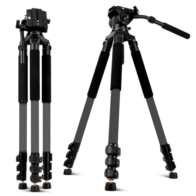 Carbon Fiber Video Tripod with Fluid Head 192cm Professional Camera Tripod for Nikon Canon Sony DSLR Cameras Video Camcorder image