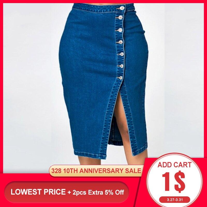 Vintage Denim Skirt Women Sexy Bodycon Midi Jeans Skirts High Waist Split Button Chic Elegant Casual Office Ladies Summer 2020
