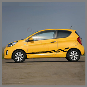 Racing-Sport-Graphics-Stripes-Car-Door-Side-Skirt-Sticker-For-KIA-Picanto-Morning-GT-line-2012
