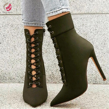 Original Intention Fashion Cross-tied Ankle Boots Woman Green Red Pointed Toe Thin High Heels Spring Summer Shoes Female 4-15