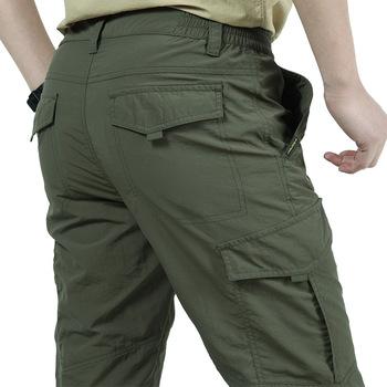 Męskie lekkie oddychające spodnie szybkoschnące letnie dorywczo armia styl wojskowy spodnie taktyczne spodnie w stylu cargo wodoodporne spodnie tanie i dobre opinie IGLDSI Cargo pants Na co dzień Mieszkanie Poliester Lycra spandex Kieszenie Suknem Luźne Pełnej długości Zipper fly
