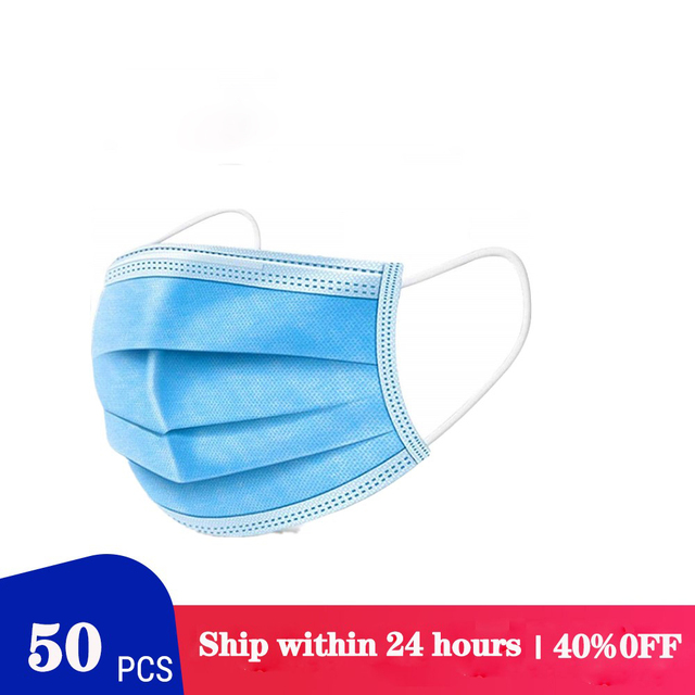 50/100pcs Protective Mask Non-woven Dust Mask Thickened Disposable Mouth Mask 3-layer Face Mask