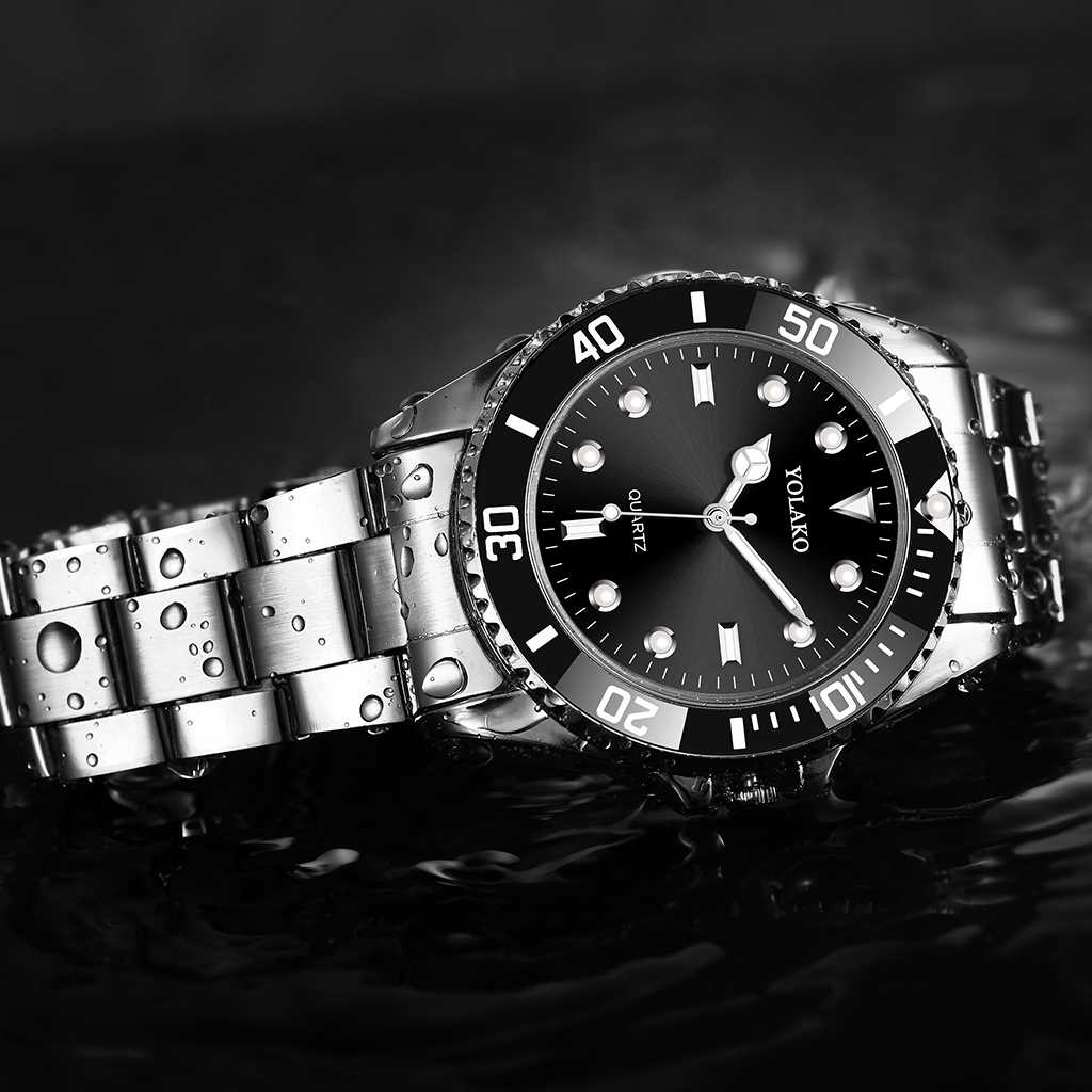 YOLAKO 男性のステンレス鋼事業ースポーツウォッチラグジュアリー男性スポーツ腕時計クォーツ時計レロジオ Masculino ホット販売