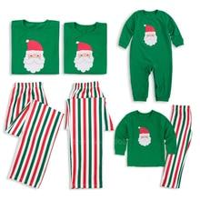 Одинаковые комплекты для семьи; рождественские пижамы для мамы и дочки; одежда для малышей; зеленые пижамы с Санта-Клаусом на Рождество и год; комплект со штанами