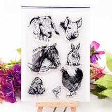 Tampon transparent en forme d'animaux, rouleau en silicone, album, production de cartes, offre spéciale