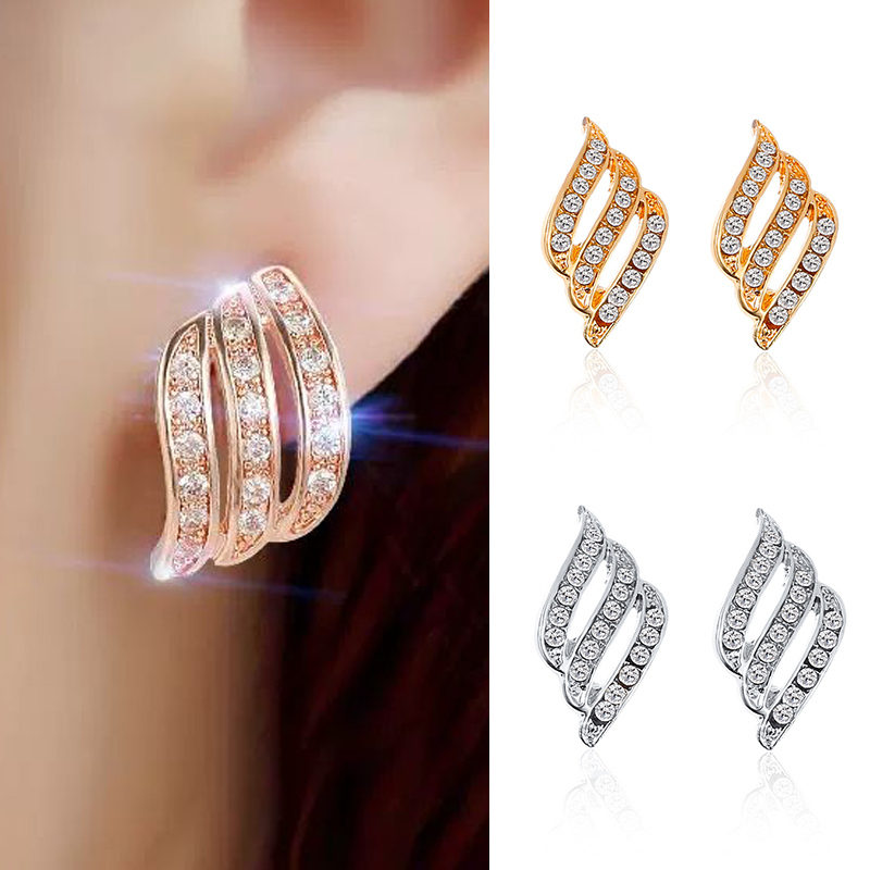 Crystal Flower Stud Earrings For Women Fashion Jewelry Gold Silver Rhinestones Earrings Modern Jewelry Gift