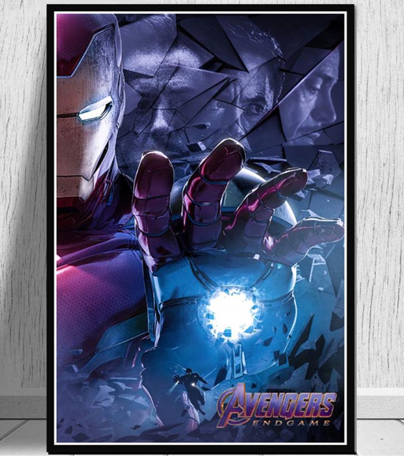 Современная Настенная живопись Мстители персонаж эндшпиль Железный человек Тор Капитан Америка постеры картина холст домашний декор - Цвет: Тёмно-синий