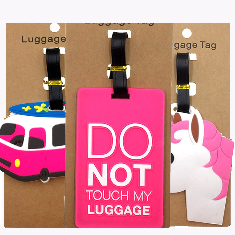 Cartoon Letter Unicorn Portable Luggage Tags Silica Gel Suitcase Addres Holder Label Women Baggage Boarding Travel Accessories