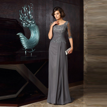Modern Elegant Gray Lace Applique Mother of the Bride Dresses Jewel Neck Beaded With Half Sleeves Wedding Guest Dress Back Out