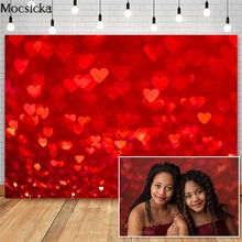 Mocsick Valentines Day Photography Backdrops Red Love Heart Flash Bokeh Photo Booth Background For Photo Studio Photocalls