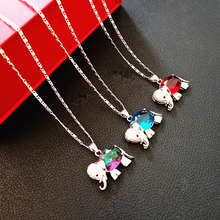 Pure Silver Necklaces For Women Collier Femme Crystal Elephant Pendant Necklace Wedding Bridal Jewelry Accesories Bijoux Gifts pure 925 silver necklaces for women key pendant necklace 2mm ball chain collier femme choker fashion jewelry accesories bijoux