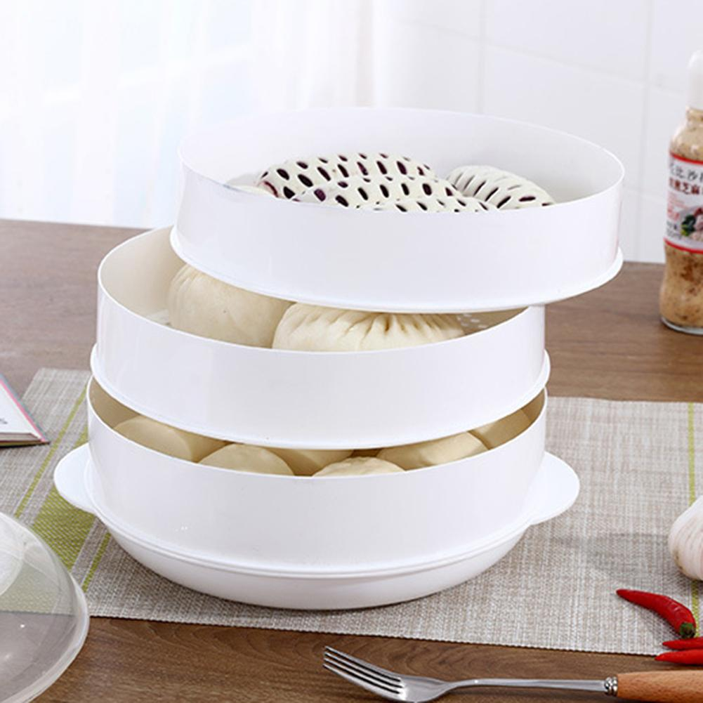 Round Single/Double Tier Microwave Food Steamer Kitchen Veggies Fish Cookware Cookware Steamers