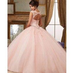 MYYBLE Rosa Puffy barato quinceaina vestidos 2020 vestido de baile mangas tul encaje cuentas cristales dulce 16 vestidos