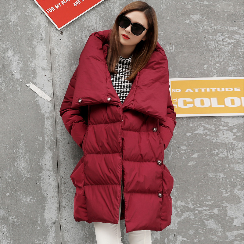 Winter Oversized Bread Style White Duck Down Coat Female Long Warm Fluffy Down Jacket Thick Warm Parkas F427