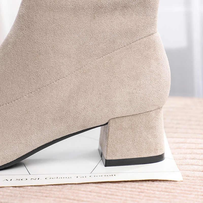 Femmes bottes bottines courtes troupeau bout pointu talons carrés hiver peluche chaussons femme 2019 sans lacet Martin bottes noir Beige