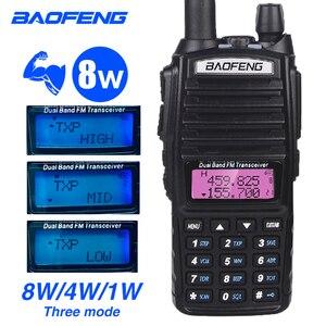 Image 1 - Güç 8W UV 82 Walkie Talkie Baofeng yüksek güç Dual Band CB Ham radyo amatör 10KM UV82HP iki yönlü radyo 8 watt VHF alıcı verici