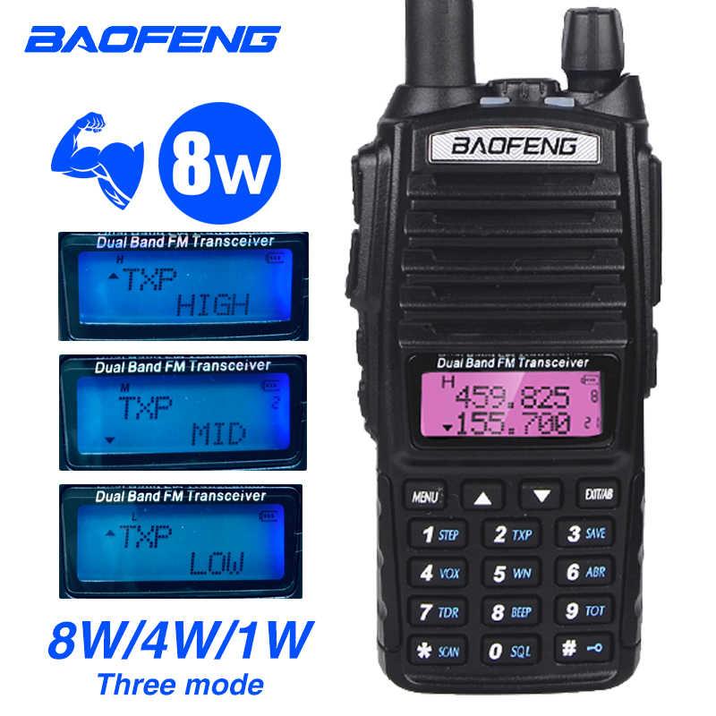 Real 8W Baofeng UV 82 Walkie Talkie 10km Doble Banda dos vías para Ham Radio estación Huntiong VHF transceptor 128CH UV-82hp Radio