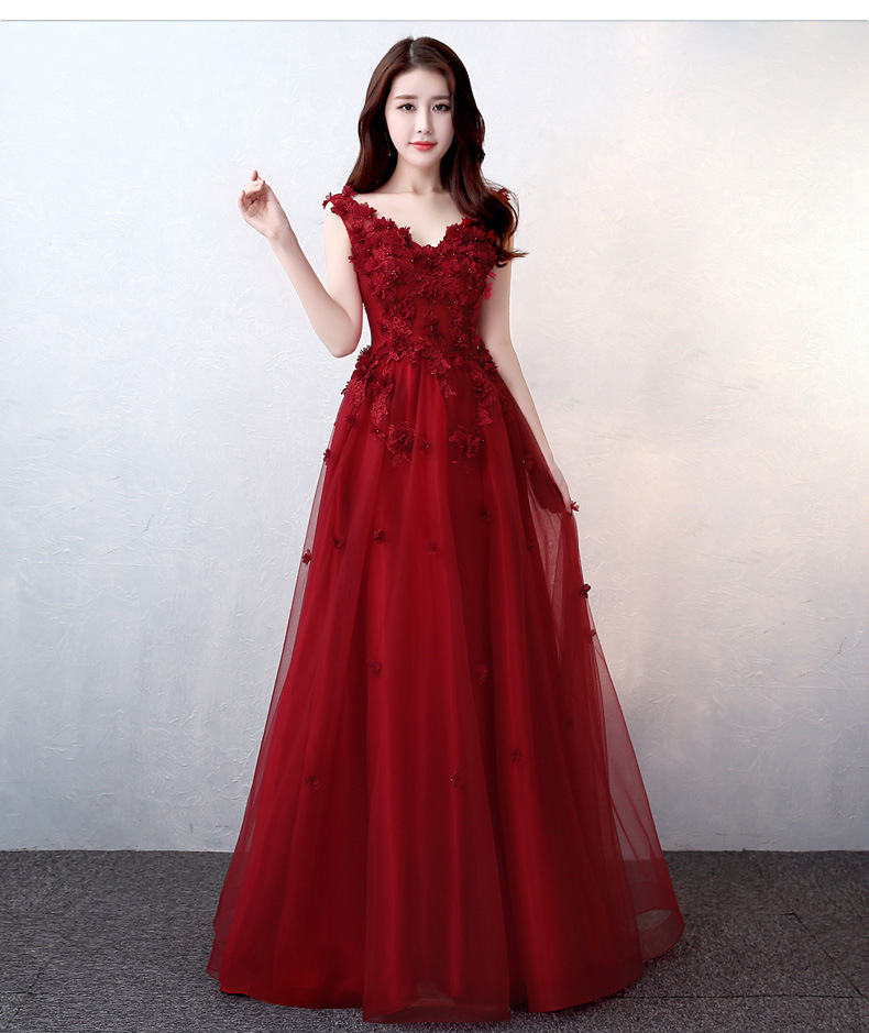 Bride Wine Red Dress For Toast 2019 New Style Banquet Annual General Meeting Host Evening Dress Women's Slim Fit Explicit Thin L