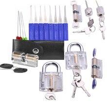 Neue 7 stücke Transparent Schlösser mit 17 stücke LockPick Set,10 stücke Gebrochen Key Extractor Pick Werkzeug Kombination, schlosser Versorgung Kit