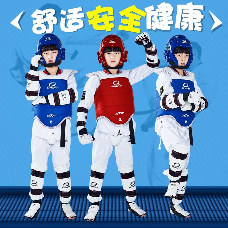High Quality WTF Approved Taekwondo Protectors 5pcs Chest Gear Shin Arm Guards Adult Child Headgear MMA Kick Body Hugo Helmet