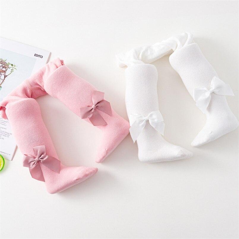 Collants en tricot pour petites filles   Collants de printemps-automne de 3 ans, collants mignons en coton respirant avec ruban et nœud papillon, vêtements pour tout-petits