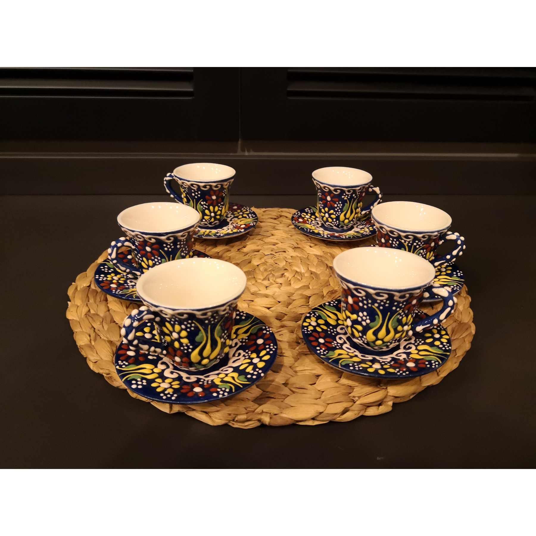 Set di 6 Regalo del Caffè di ceramica Ottomano Turco Tazze di Caffè Set con Turco Made in Turchia Arabo Caffè Set Da Tè tazze Set Per Caffè Espresso