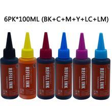 Refill Ink Kits printer ink 6colors  Compatible for Printer Epson  L800 L801 L805 L810 L850 L1800 L351 L353 L551 P50 T50 чернила cactus epson l800 l805 l810 l850 l1800 светло голубой 250ml cs ept6735 250